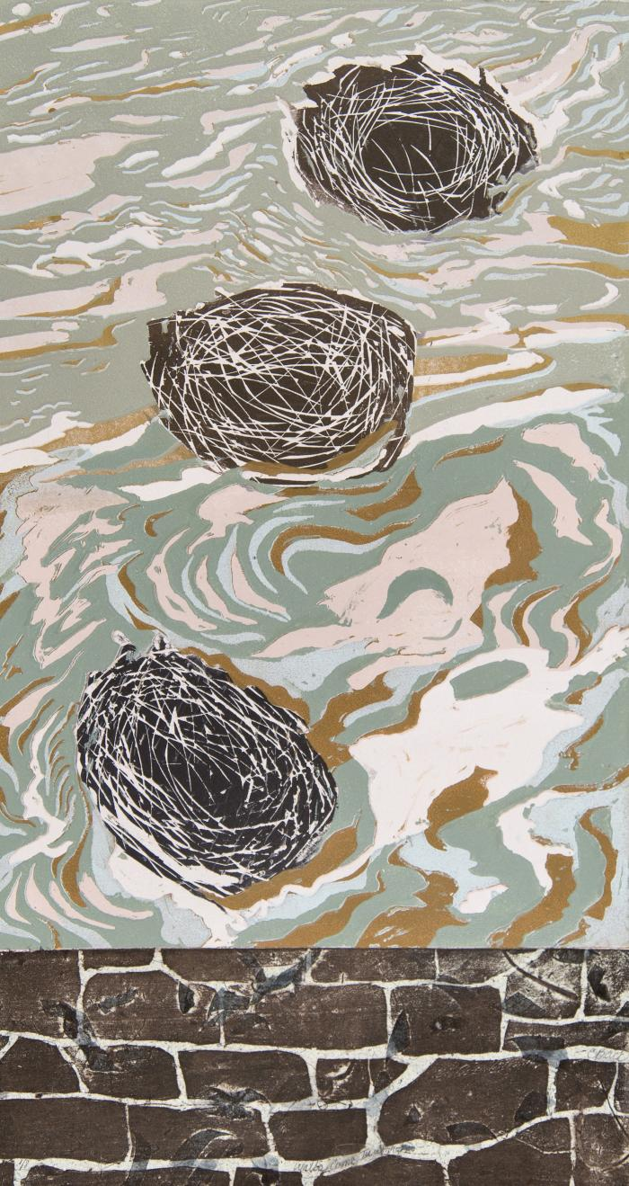 """Cynthia Back, Walls Come Tumbling #2, woodcut, reduction linocut, chine colle, 22"""" x 12"""", 2013; Photo credit: Jack Ramsdale"""