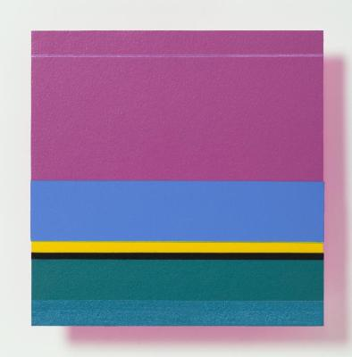 "Jane Lincoln, Matisse's Magenta, acrylic on cut paper, 6"" x 6"", 2016"