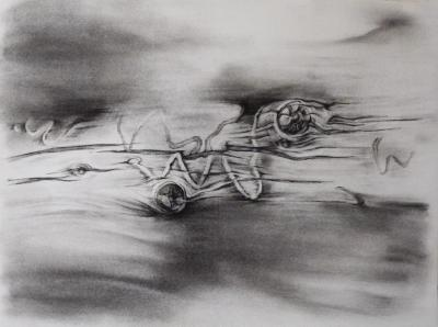 "Dawn Lee, Great Sand Dunes, Elements 1, charcoal on paper, 11"" x 15"", 2012"