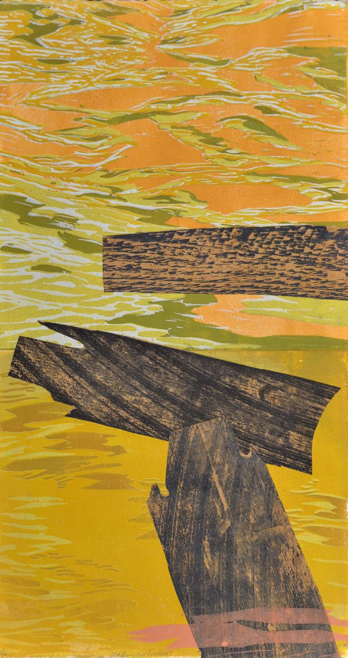 """Cynthia Back, Walls Come Tumbling #3, woodcut, reduction linocut, chine colle, 22"""" x 12"""", 2013; Photo credit: Jack Ramsdale"""