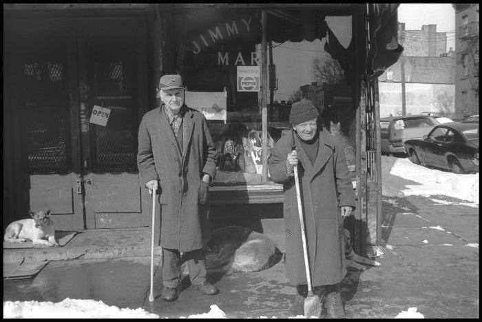 Janet Neuhauser, Jack and Walter Outside Jimmy's Market, 1983