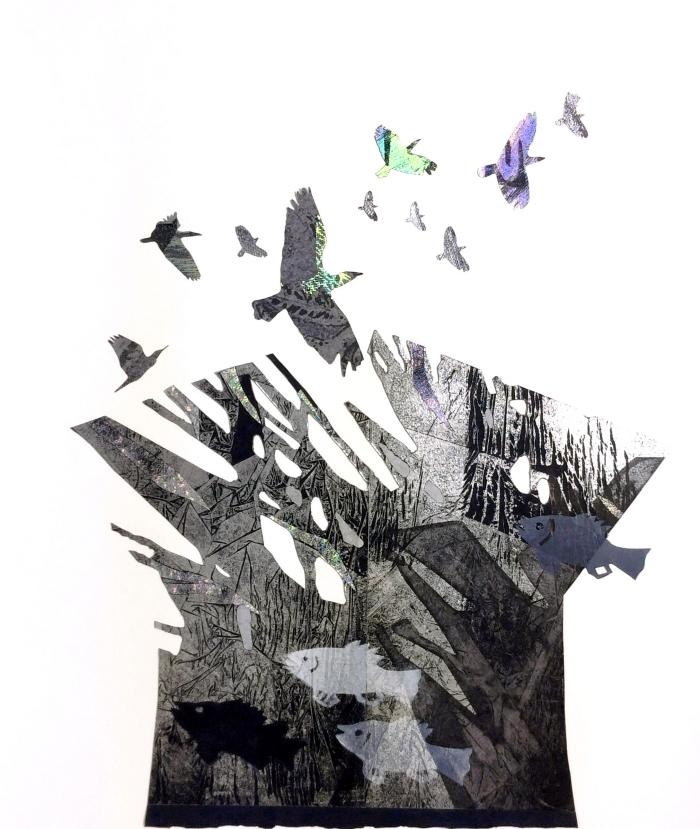 """Robin Holder, """"Mountain,"""" Archival digital imaging, stencil printing with foil stamp printing"""