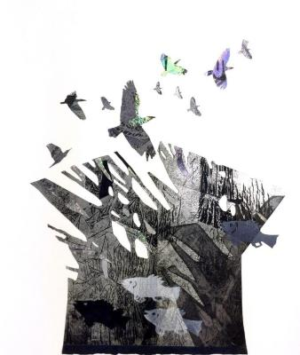 "Robin Holder, ""Mountain,"" Archival digital imaging, stencil printing with foil stamp printing"